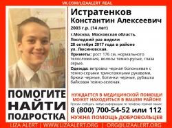 Разыскивается подросток Истратенков Константин Алексеевич (14 лет), о котором с 28 октября 2017 года информации нет.