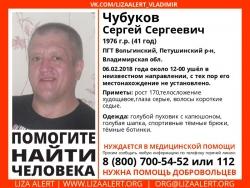Разыскивается мужчина Чубуков Сергей Сергеевич (41 год), о котором с 6 февраля 2018 года информации нет.
