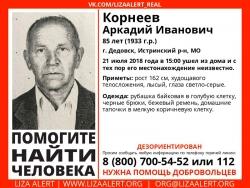 Разыскивается мужчина Корнеев Аркадий Иванович (85 лет), о котором с 21 июля 2018 года информации нет.