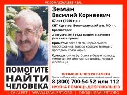 Разыскивается мужчина Земан Василий Корнеевич (67 лет), о котором со 2 августа 2018 года информации нет.