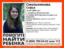Разыскивается подросток Смольникова Софья Борисовна (12 лет), которая ушла из дома 18 ноября 2018 года и не вернулась.