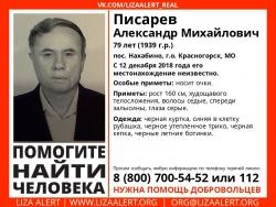 Разыскивается мужчина Писарев Александр Михайлович (79 лет), с 12 декабря 2018 года его местонахождение неизвестно.