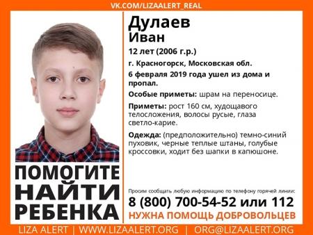 ПОВТОРНО разыскивается ребенок Дулаев Иван Денисович (12 лет), о котором с 6 февраля 2019 года информации нет.