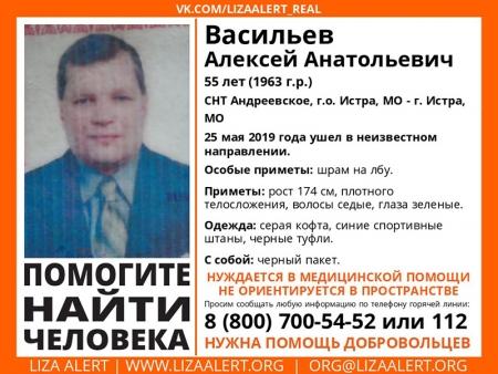 Разыскивается мужчина Васильев Алексей Анатольевич (55 лет), о котором с 25 мая 2019 года информации нет.