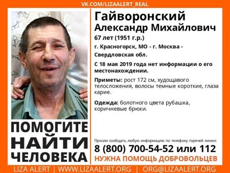 Разыскивается мужчина Гайворонский Александр Михайлович (67 лет), о котором с 18 мая 2019 года информации нет.