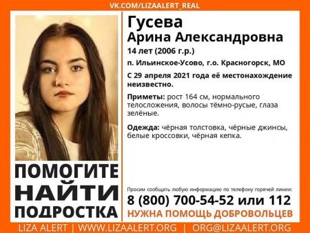 Разыскивается женщина Гусева Арина Александровна (14 лет), о которой с 29 апреля 2021 года информации нет.